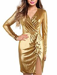 cheap -Women's Wedding Party Date Elegant Bodycon Dress - Solid Colored White Purple Gold S M L XL