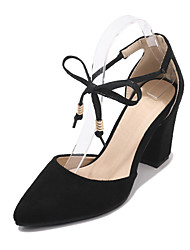 cheap -Women's Heels Chunky Heel Pointed Toe PU Classic / British Summer Black / Red / Blue / Party & Evening