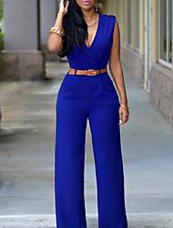 cheap -Women's Basic / Street chic Loose Wide Leg Pants - Solid Colored High Waist Fuchsia Army Green Royal Blue L XL XXL
