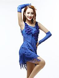 cheap -Women's Flapper Girl Latin Dance Flapper Dress Party Costume Flower Tassel Polyster Black Purple Almond Dress