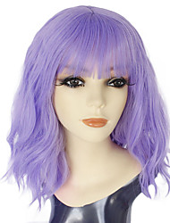 cheap -Synthetic Wig Water Wave Neat Bang Wig Medium Length Light Blonde Blue Purple Synthetic Hair 14inch Women's Odor Free Cosplay Adjustable Blonde Blue Purple / Heat Resistant