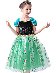 cheap -Princess Fairytale Anna Cosplay Costume Party Costume Flower Girl Dress Kid's Girls' A-Line Slip Christmas Halloween Children's Day Festival / Holiday Chiffon Terylene Green Carnival Costumes