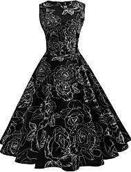 cheap -Women's Black Dress 1950s A Line Floral S M