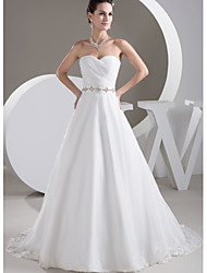 cheap -A-Line Wedding Dresses Sweetheart Neckline Court Train Lace Satin Tulle Strapless with Sashes / Ribbons Ruched Crystals 2021