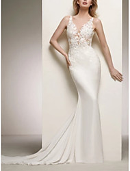 cheap -Mermaid / Trumpet V Neck Court Train Lace / Satin Regular Straps Wedding Dresses with Lace Insert 2020
