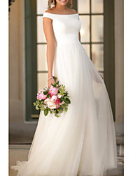 cheap -A-Line Off Shoulder Court Train Tulle / Charmeuse Short Sleeve Wedding Dresses with Draping 2020