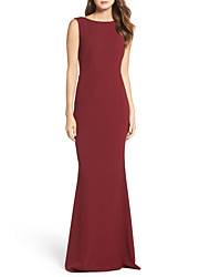 cheap -Sheath / Column Jewel Neck Floor Length Jersey Dress with by LAN TING Express