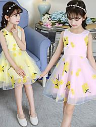 cheap -Princess Midi / Medium Length Holiday Flower Girl Dresses - Organza / Tulle / Satin Chiffon Sleeveless Jewel Neck with Bow(s) / Appliques / Solid