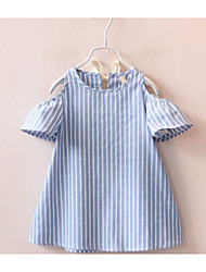 cheap -Kids Toddler Girls' Basic Blue & White Striped Lace up Short Sleeve Above Knee Dress Light Blue