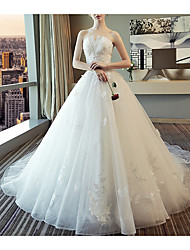 cheap -A-Line Strapless Court Train Polyester Strapless Wedding Dresses with Beading / Appliques 2020