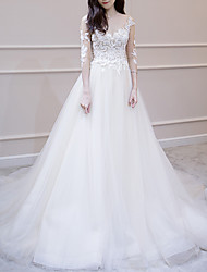 cheap -A-Line V Neck Court Train Lace / Tulle 3/4 Length Sleeve Made-To-Measure Wedding Dresses with Beading 2020