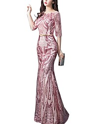 cheap -Mermaid / Trumpet Sparkle Pink Engagement Formal Evening Dress Boat Neck Half Sleeve Floor Length Polyester with Sequin Pattern / Print 2020