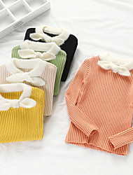 cheap -Kids Girls' Basic Print Long Sleeve Blouse Black