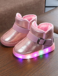 cheap -Boys' LED / Snow Boots PU Boots Little Kids(4-7ys) Luminous Black / Peach / Pink Winter / Booties / Ankle Boots