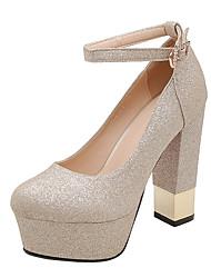 cheap -Women's Heels Chunky Heel Round Toe PU Business / British Summer Black / White / Gold / Wedding / Party & Evening