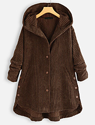 cheap -Women's Daily Fall & Winter Long Coat, Solid Colored Hooded Long Sleeve Polyester Black / Brown / Green