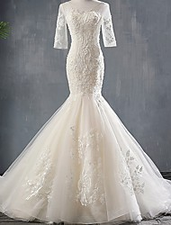 cheap -Mermaid / Trumpet Jewel Neck Sweep / Brush Train Polyester Half Sleeve Wedding Dresses with Appliques 2020
