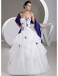 cheap -Ball Gown Wedding Dresses Strapless Floor Length Lace Organza Satin Strapless Casual Vintage Plus Size with Beading Appliques Cascading Ruffles 2021