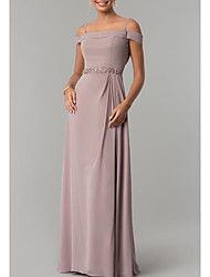 cheap -Sheath / Column Elegant Pink Wedding Guest Formal Evening Dress Spaghetti Strap Short Sleeve Floor Length Chiffon with Beading Draping 2020