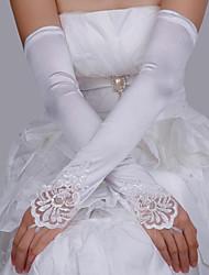 Недорогие -Кружева / Сатин Длина костюма Перчатка С кружевами / Перчатки С Однотонные