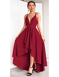 cheap -A-Line Plunging Neck Asymmetrical Chiffon Sexy / Elegant Cocktail Party / Holiday Dress 2020 with Draping / Ruffles