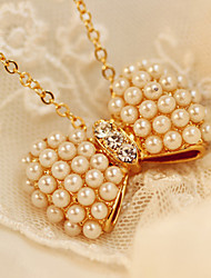 cheap -Women's Pendant Necklace Charm Necklace Classic Precious Bowknot Fashion Imitation Pearl Zircon Chrome Gold 55 cm Necklace Jewelry 1pc For Daily Street Work