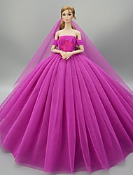 cheap -Doll accessories Doll Clothes Doll Dress Princess Wedding Dress Evening Dress Party / Evening Elegant Wedding Ball Gown Tulle Lace For 11.5 Inch Doll Handmade Toy for Girl's Birthday Gifts  Doll Not