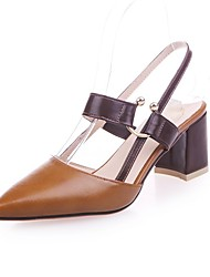 cheap -Women's Heels Chunky Heel Pointed Toe Rivet Faux Leather / Patent Leather Casual / Minimalism Spring & Summer Brown / White / Green