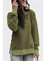 cheap -Women's Casual / Cute Sweatshirt - Solid Colored Army Green S