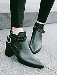 cheap -Women's Boots Chunky Heel Pointed Toe PU Booties / Ankle Boots Winter Black / Brown / Almond