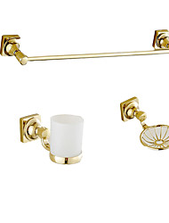 cheap -Bathroom Accessory Set Modern Style / Classical Brass 3pcs - Towel bar /Soap dish / Toothbrush holder Wall Mounted