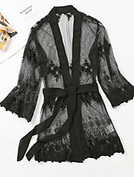 cheap -Women's Lace / Lace up Robes Nightwear Floral Black One-Size