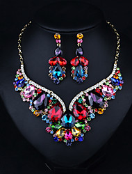 cheap -Women's Clear Blue Red AAA Cubic Zirconia Collar Necklace Chandelier Heart Fashion Elegant Rhinestone Earrings Jewelry Rainbow For Wedding Engagement Holiday 1 set