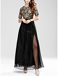 cheap -A-Line Jewel Neck Floor Length Chiffon Dress with Embroidery / Split Front by LAN TING Express