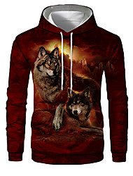 cheap -Men's Plus Size Hoodie Wolf 3D Print Hooded Sports - Long Sleeve Loose Wine S M L XL XXL XXXL XXXXL XXXXXL XXXXXXL / Fall / Winter