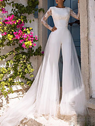 cheap -Jumpsuits Jewel Neck Court Train Polyester / Lace / Tulle Long Sleeve Illusion Sleeve Wedding Dresses with Appliques 2020