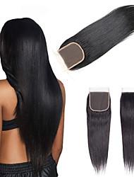 cheap -Brazilian Hair / Vietnamese Hair 4x4 Closure Straight Free Part Swiss Lace Virgin Human Hair / Remy Human Hair Women's Dailywear