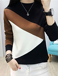 cheap -Women's Color Block Long Sleeve Pullover Sweater Jumper, High Neck Black / Light Brown / White One-Size