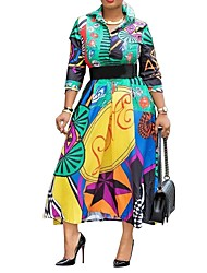 cheap -Women's Green Dress Elegant Swing Geometric Color Block Shirt Collar Print M L