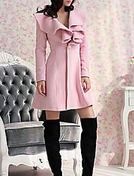 abordables -Femme Soirée / Sortie Chic de Rue Automne hiver Longue Manteau, Couleur Pleine Col rabattu Manches Longues Laine / Coton / Polyester Noir / Rouge / Rose Claire / Sexy