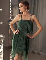 cheap -Women's 1920s Elegant The Great Gatsby Slim Sheath Dress - Solid Colored Tassel Fringe Strap Black Green S M L XL