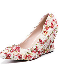 cheap -Women's Wedding Shoes Wedge Heel Pointed Toe Satin Flower PU Vintage / Minimalism Spring &  Fall / Fall & Winter Rainbow / Party & Evening / Color Block
