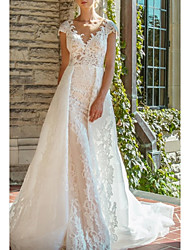 cheap -A-Line Wedding Dresses V Neck Court Train Lace Cap Sleeve with 2020