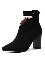 cheap -Women's Boots Chunky Heel Pointed Toe Suede Booties / Ankle Boots Fall & Winter Black / Green / Burgundy
