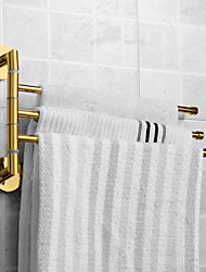cheap -Towel Bar Modern Polished Brass Bathroom Towel Rack with 3 Rod Household Golden 1PC
