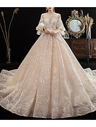 cheap -A-Line Jewel Neck Chapel Train Polyester 3/4 Length Sleeve Wedding Dresses with Crystals / Appliques 2020