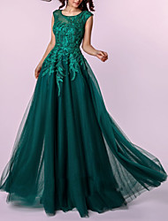 cheap -A-Line Jewel Neck Floor Length Tulle Dress with Embroidery / Pleats by LAN TING Express