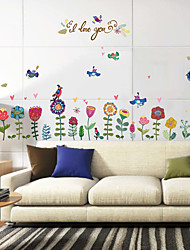 cheap -SK9171 flower bird butterfly baseboard cabinet refrigerator closet TV bedroom background decorative wall sticker