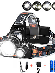 cheap -Headlamps Safety Light Headlight 13000 lm LED Emitters 4 Mode with Batteries and Chargers Anglehead Suitable for Vehicles Super Light Camping / Hiking / Caving Everyday Use Cycling / Bike EU Plug AU