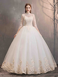 cheap -Ball Gown High Neck Floor Length Lace / Tulle 3/4 Length Sleeve Made-To-Measure Wedding Dresses with Appliques 2020
